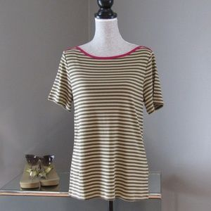 NEW Christopher & Banks Olive Pink Striped Tee M